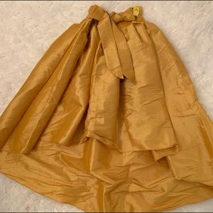 Golden yellow high low skirt with bow